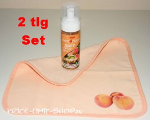 Duft Schaumreiniger Set Pfirsich incl. Spezial Microfaser Reinigungstuch mit Motivdruck