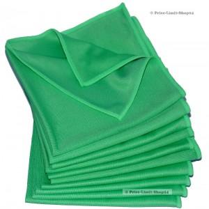 10 x Microfaser Fenstertücher Glastücher Grün 300g/m²