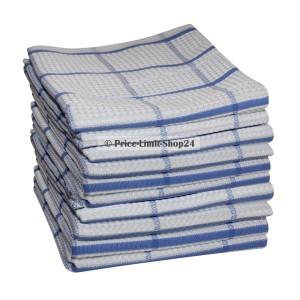 10 x Geschirrtuch Microfaser Weiß Blau kariert 42 cm x 68 cm