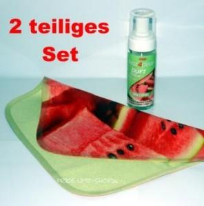 Duft Schaumreiniger Set Melone incl. Spezial Microfaser Reinigungstuch mit Volldruck