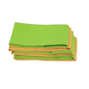 6 Geschirrtuch Küchenhandtuch Microfaser 3 x Grün, 3 x Orange