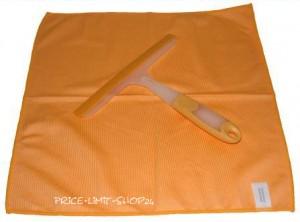 Fensterwischer + Microfaser Poliertuch Glastuch Set Orange