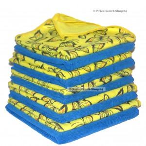 10 x Microfaser Universal- Polier Tuch Blau und Gelb mit Druck 320g/m² PO 40x40cm
