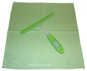 Fensterwischer + Microfaser Poliertuch Glastuch Grün