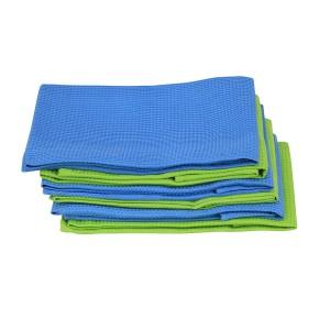 6 Geschirrtuch Küchenhandtuch Microfaser 3 x Grün, 3 x Blau